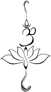 SanerLian Black Sanskrit Lotus Temporary Tattoo Sticker Women Girls Back Shoulder Arm Waterproof Fake Tattoos 10.5X6cm Set of 5