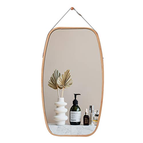 Espejo Redondo de Pared Espejo de baño Espejo de tocador Espejo de baño Espejo Decorativo de Madera de Dormitorio Espejo Redondo con Cuerda