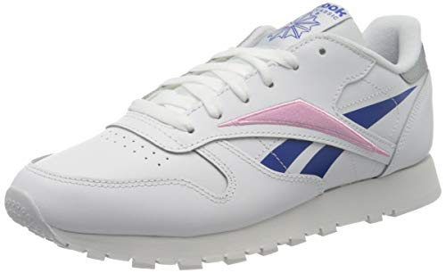 Reebok Womens CL LTHR Gymnastics Shoe, White/Humble Blue/Jasmine Pink, 37.5 EU