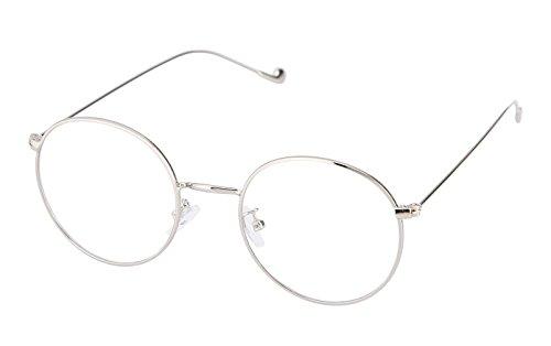 Lukis Brille Nerdbrille Retro Rund Unisex Metallgestell Brillenfassung Dekobrillen 140x50mm Silber