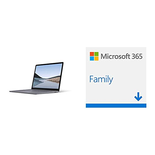 Microsoft Surface Laptop 3, 13,5 Zoll Laptop (Intel Core i5, 8GB RAM, 128GB SSD, Win 10 Home) Platin + Microsoft 365 Home multilingual | 6 Nutzer | 1 Jahresabonnement | Download