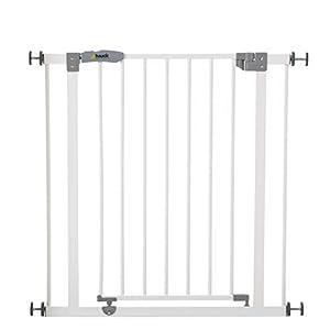 Hauck Open N Stop - Puerta de seguridad 75 – 80 cm, sin agujeros en la pared, combinable con Y-Spindel para barandillas, blanco