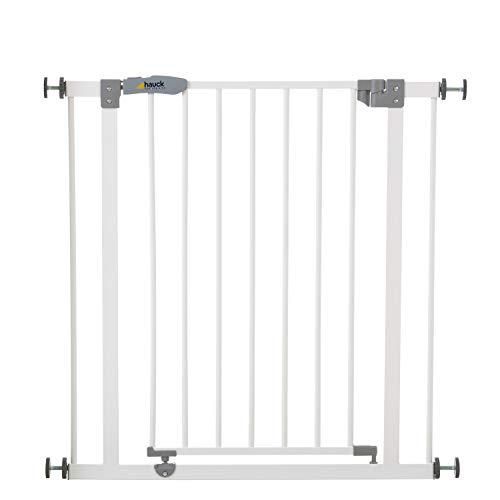 Hauck Open N Stop Türschutzgitter/Treppengitter, 75-80cm ohne Bohren, erweiterbar mit Verlängerungen von 9cm und 21cm bis 122cm/ kombinierbar mit Y-Spindeln/ Metall/beidseitig schwenkbar/white(weiß)