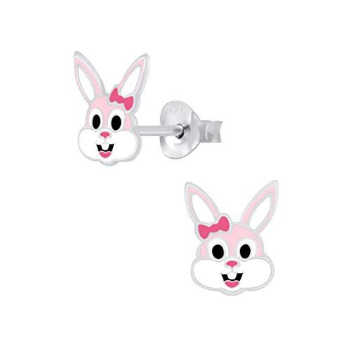 Pendientes de tuerca de conejo rosa - plata de ley