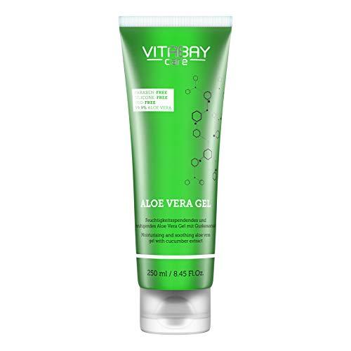 Vitabay Aloe Vera Gel (250 ml) • 99,9% Aloe Vera + Extracto de pepino hidratante • Aloevera pura • Calmante, natural y orgánica • Calidad alemana