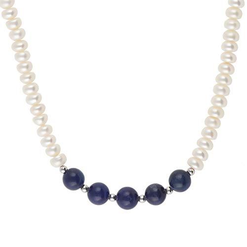 Perlenkette echt Silber 925 Sterling mit Perlen Lapislazuli 45 cm lang Halskette