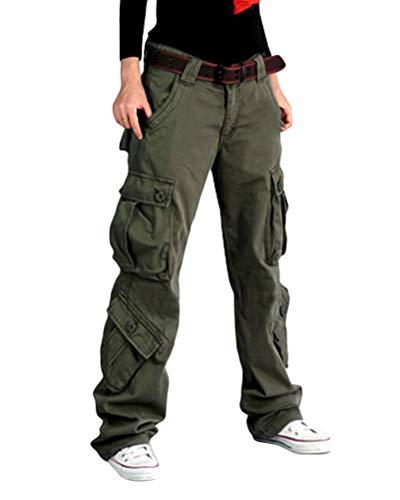 ORANDESIGNE Damen Cargo Hose, Frauen Armee Militär Beiläufig Ladung Keuchen Hosen mit Multi Taschen Mode Loose Fit Casual Hosen High Waist Bequem Jogginghose B Grün L