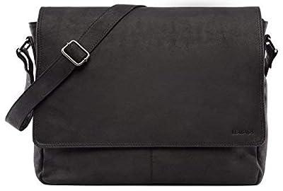 LEABAGS Oxford - Messenger Bag Briefcase Laptop Bag 13 Inch Genuine Leather - Black