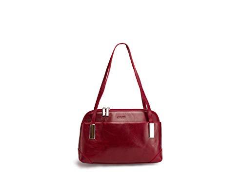 Giudi - Bolso de mano para mujer, piel auténtica, color rojo, un regalo especial para aniversario, día de la madre, día del padre, Navidad, cumpleaños
