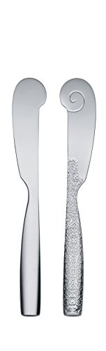 """Alessi""""Dressed"""" Butter Knives in 18/10 Stainless Steel Mirror Polished With Relief Decoration (Set of 6), Silver"""