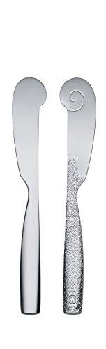 Alessi MW03/37 - Juego de 6 cuchillos de mantequilla (acero, 18-10), color plateado