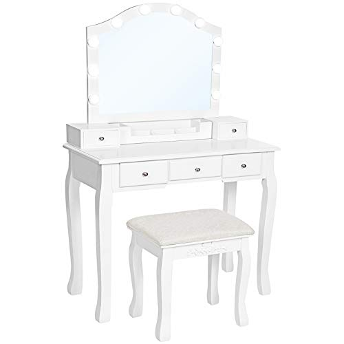 VASAGLE Vanity Set, Dressing Table Set with Mirror, 10 Light Bulbs, 6-Slot Removable Organizer, 5 Drawers, 1 Drawer Divider, Cushioned Stool, for Bedroom, White URDT170W01