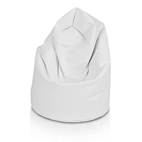 Bepouf Poltrona Sacco Puf Pouf Dimensioni 110x70 Poliestere Pieno (Bianco, Media)