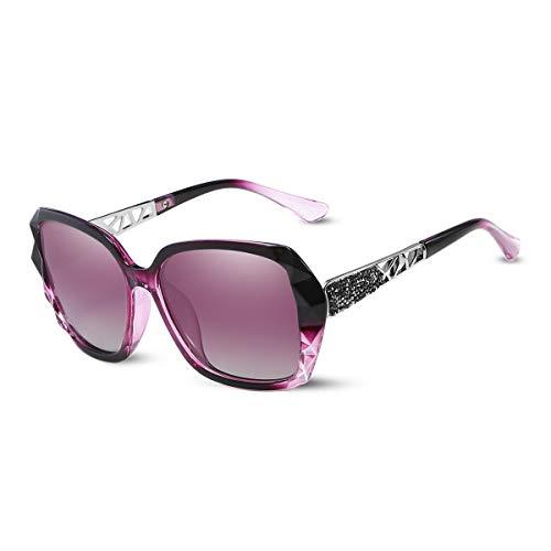 LumiSyne Gafas de sol Mujer Gradient Espejo,Gafas UV 400 Polarizadas,De gran tamaño Policarbonato Marco Diamante Cristal,Al aire libre Viajar Caja de regalo(Morado Gradient)