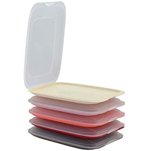 ENGELLAND - 5er Farbmix-Set hochwertige stapelbare Aufschnitt-Boxen, Frischhaltedose für Aufschnitt. Wurst Behälter. Perfekte Ordnung im Kühlschrank - 1x rosa 1x braun 1x beige 1x lachs 1x rot