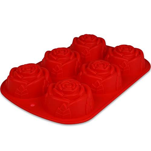 BlueFox Muffinform mit Rosen - 24,5 x 16 x 3,5cm - Backform - Silikonform - Backform Weihnachten - Blumenform - Silikonherzbackform - Blumenmuffins - Cupcakeform - Kleine Kuchenform in 3D - Rot
