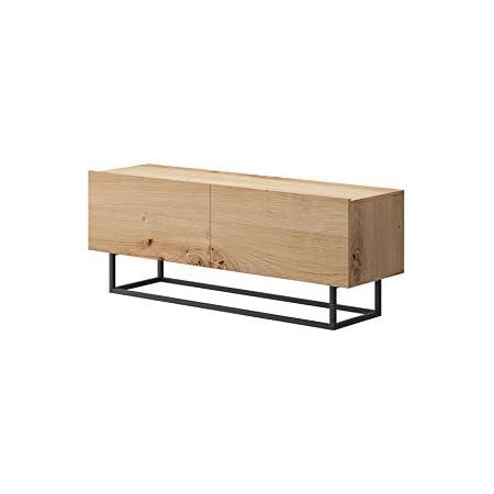 tendencio meuble tele enjoy style industriel 120 cm meuble tv avec pied en metal bois