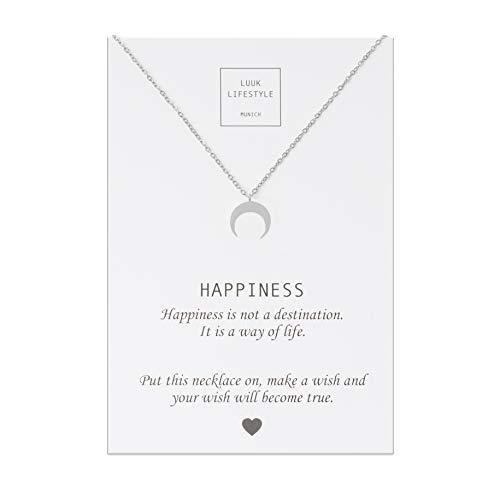 LUUK LIFESTYLE Collar de acero inoxidable con colgante de luna y tarjeta de cita de HAPPINESS, amuleto de la suerte, joyería para mujer, plata