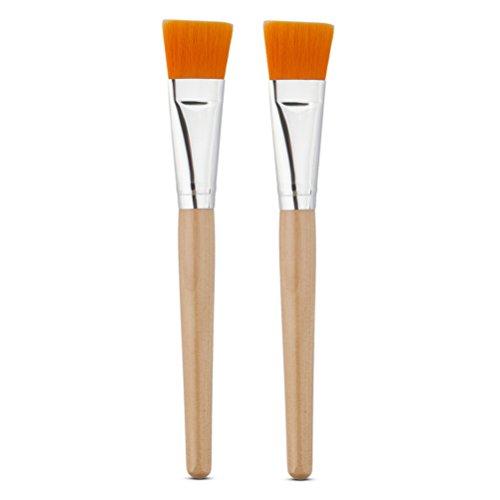 Frcolor - Pennello per applicare maschera facciale o necessità fai-da-te, set da 2pezzi, manico in legno (Colore Casuale)