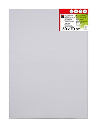 Marabu 1616000000501 - Keilrahmen, ca. 50 x 70 cm, Rahmentiefe ca. 1,8 cm, weiß, mit 380 g/qm Baumwolle bespannt, 3 fach grundiert, leicht saugend, für Acryl-, Öl-, Gouache- und Temperafarben