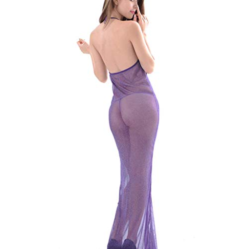 Pyjama Midnight New Products Sexy jurkje perspectief Net garen Beauty terug Mop rok (Color : Purple)