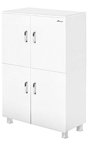 Miami Highboard mit 4 Türen und Soft-Close, Holz, Weiss metallic, 42.9 x 110 x 150 cm