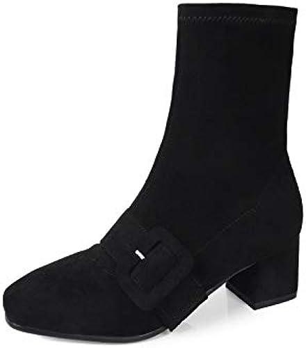 HOESCZS 2019 Femmes Mi-Mollet Bottes Mode Femmes Chaussures Plate-Forme Bottes d'hiver Talon Carré Causale Femmes Bottes Grande Taille 34-43