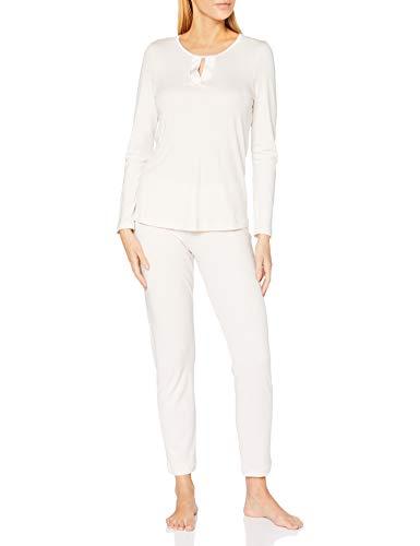 Hanro Womens Pyjama 1/1 Arm Pajama Puristic Set, Rock Crystal, M
