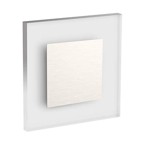 Conceptrun Premium LED Wandeinbauleuchte Modell:WB1 Warmweiß 230V AC Treppenlicht mit quadratischem Korpus aus Satinglas und Edelstahlfront