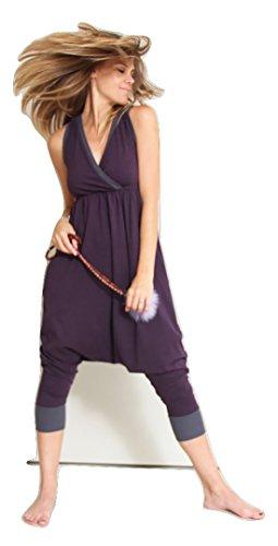 Prancing Leopard Aix-en-Provence - Mono de yoga para mujer, deportivo, elegante, de algodón orgánico, talla XL, color morado