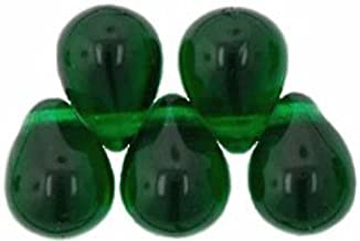 UnCommon Artistry Czech Glass Beads 9mm Teardrop Green Emerald (50)