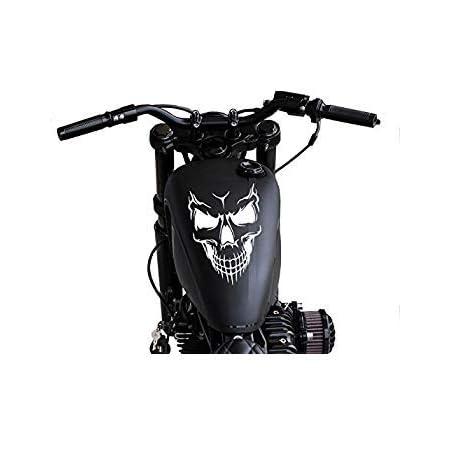 Supersticki Totenkopf Skull Tribal Ca 30cm Motorrad Aufkleber Bike Auto Racing Tuning Aus Hochleistungsfolie Aufkleber Autoaufkleber Tuningaufkleber Hochleistungsfolie Für Alle Glatten Fläc Auto
