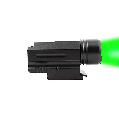 FIRECLUB 150 Lumens Green LED Mount Tactical Gun Flashlight Pistol Light with StrobeampWeaver Quick Release for Hunting Black