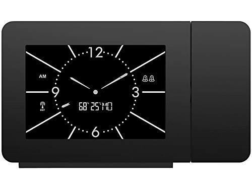 Infactory Senza Fili Orologio a proiezione: Radiosveglia a proiezione, Look analogico, Termometro/igrometro, 2 orari di Sveglia (proiezione Sveglia)