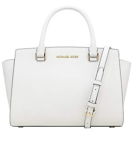 Michael Kors Selma Saffiano Leather Medium Top Zip Satchel Bag (Optic White)