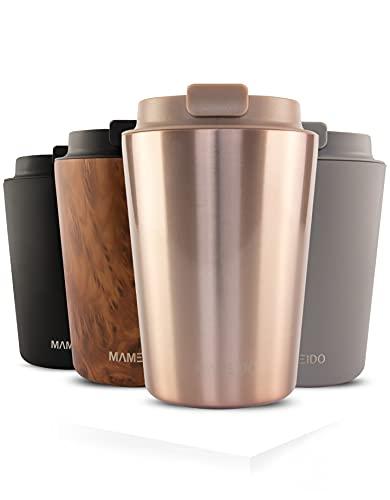 MAMEIDO Thermobecher 350ml Rosé Quartz - Kaffeebecher aus Edelstahl doppelwandig isoliert, auslaufsicher - Coffee to go Becher für Kaffee & Tee