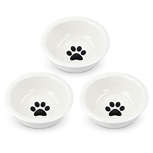 Navaris 3X Fressnapf aus Keramik Futterstation Set - Katzennapf Hundenapf 3 Stück - Futternapf Katze Hund - Napf in Schwarz Weiß