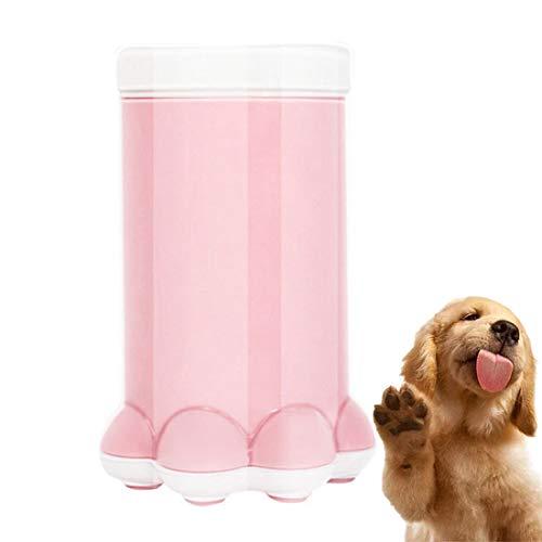Haustier Fußwaschbecher Hund Katze Waschkralle Teddy Golden Hair Wash Fußreiniger Silikon Fußwaschmaschine,Rosa