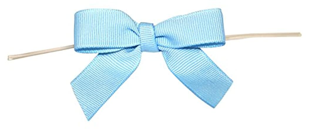 Reliant Ribbon Grosgrain Twist Tie Small Bows, 5/8 Inch X 100 Pieces, Light Blue