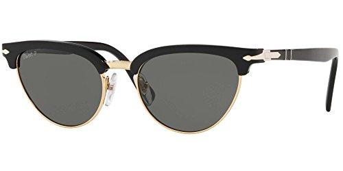 Persol 95/58 Gafas de sol, Ojos de gato, Polarizadas, 50, Black