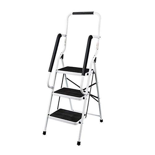 Trittleiter 3 Stufen Klappbar Stehleiter mit Handlauf Kompakte Robuste Hochwertige Stahlstufen mit Rutschfesten Matten für zu Hause/Büro/Küche
