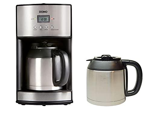 Machine à café en acier inoxydable avec minuterie et verseuse isotherme supplémentaire 1,2 l, 1000 W