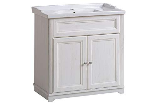 Jadella Waschbeckenunterschrank 'Nevio W' Waschtisch Waschbecken Badmöbel 80cm Weiß Pinie