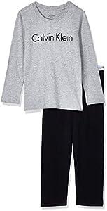 Calvin Klein LS Knit PJ Set Pijama, Gris (Grey Heather W/Black 044), 8-10 Años para Niños