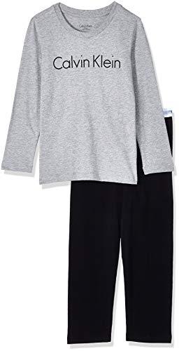 Calvin Klein LS Knit Pj Set Modern Cotton Pigiama, Grigio (Grey Heather W/Black 044), 12-14 Anni Bambino