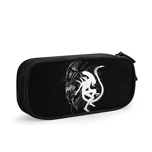 Estuche portátil elegante Alien durable con cremallera para rotuladores, caja de maquillaje, bolsa para la escuela, adolescente, niño, hombre negro