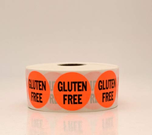 QSX Labels 1.5' Retail Price Point Label Stickers Gluten Free - 1,000/roll - Bright Red