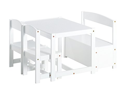 Hoppekids Mathilde Kindersitzgruppe mit 1 Kindertisch, 2 Kinderstühle und 1 Bank teilmassiv sehr stabil, Holz, weiß , 64 x 74 x 56 cm