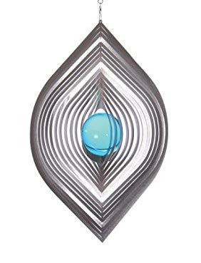 Illumino Windspiel Blatt L für den Garten aus Edelstahl | Fantastische Lichtreflektion mit 50mm Saphir-Blauer Glaskugel | Rostfreies Metall | Garten-Dekoration für draußen zum Aufhängen