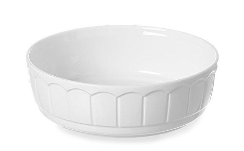 HENDI Ofenform Rustica, Rund, Hohe Schlag- und Verschleißfestigkeit, geeignet für Ofen, Mikrowelle, Geschirrspüler, ø250x(H)70mm, Weiß Porzellan